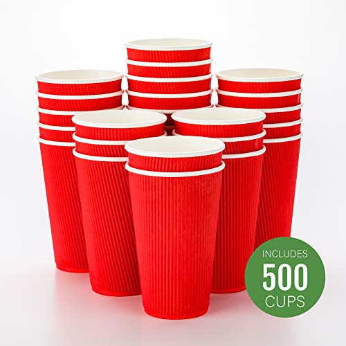 - 500-CT Disposable Red 16-OZ Hot Beverage Cups with Ripple Wall Design: No Need for Sleeves - Perfect for Cafes - Eco-Friendly Recyclable Paper - Insulated - Wholesale Takeout Coffee Cup