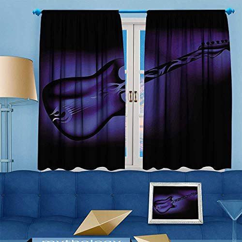 PRUNUS Blackout Curtain Music Electric Guitar Bass in Dark Tones Rock and Roll Pop Themed Oldies InstrumentDesign Navy Blue Blackout Draperies for Bedroom W63 x L63 (Guitar Triple Deck)