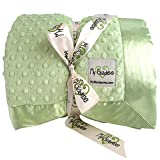 My Blankee Minky Dot Super Queen Blanket with Flat Satin Border, Sage Green, 96'' X 94''