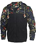 Men's Stylish Floral-Print Light Weight Hoodie Jackets Wind-Resistant Coat...