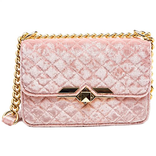 Dream Control Soft Quilted Velvet Crossbody Chain Shoulder Purse Handbag Blush
