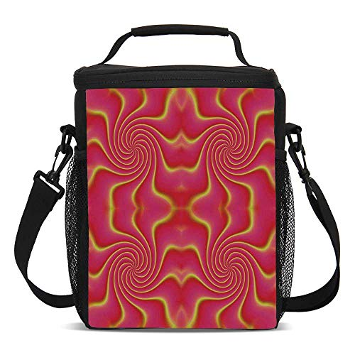 Spires Decor Beautiful Children's Printed Lunch Bag,Digital Pop Art Produced Figural Expanding Shady Lines and Nested Shape Design For picnic,One size ()