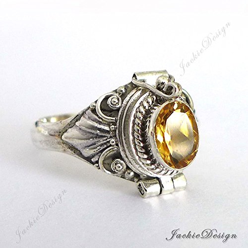 Yellow Citrine Poison Ring Size 8 Locket Sterling Silver Secret Compartment JD30