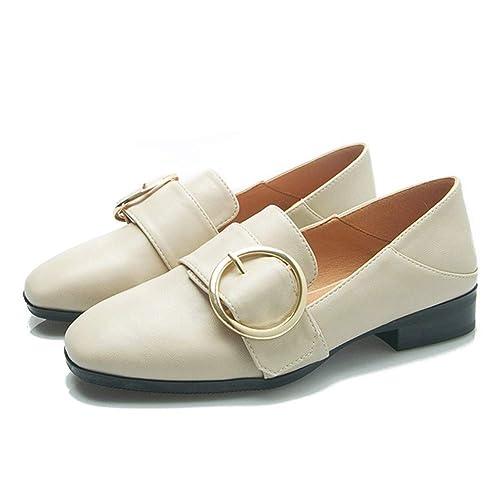 Zapatos Individuales para Mujer Cabeza Cuadrada Boca Baja Zapatos de tacón bajo Use Dos Mocasines Holgazanes, Albaricoque, 35: Amazon.es: Zapatos y ...