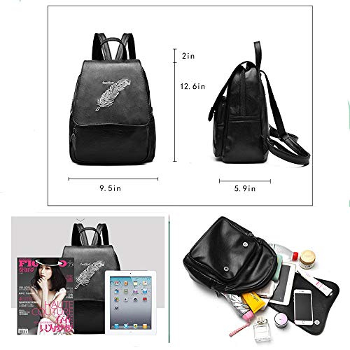 Travel Fashion Casual PU Purse Women Bag Leather Rucksack Ladies Shoulder Purse Backpack Black ZBCwz