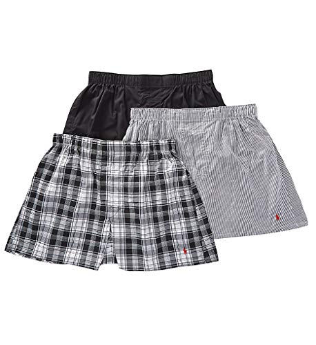 - Polo Ralph Lauren Men's Classic Fit 3 Packaged Woven Boxers Bengal Stripe/Stockton Plaid/Polo Black X-Large