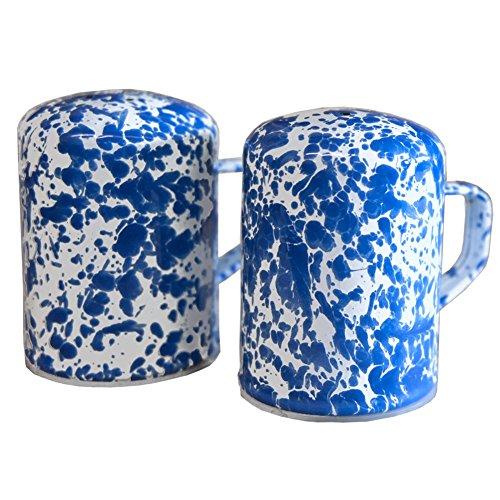 Enamelware Salt and Pepper Shaker, 11 ounce, Blue/White Splatter