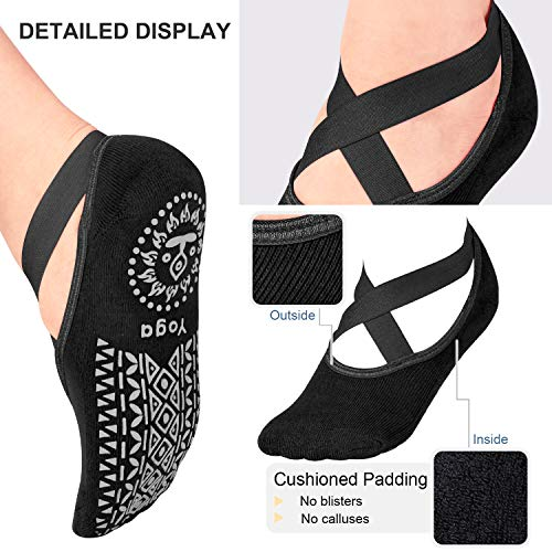 2Pairs Women Yoga Socks Non Slip Grip Straps Ideal Ballet Dance Barefoot Workout