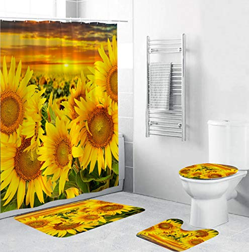 CHEUALY 4 Pcs Sunflowers Pattern Shower Curtain Sets with Non-Slip Rugs, Toilet Lid Cover and Bath Mat, Durable Waterproof Bathtub Shower Curtain with 12 Hooks, Flower in The Sunrise(4pcs)
