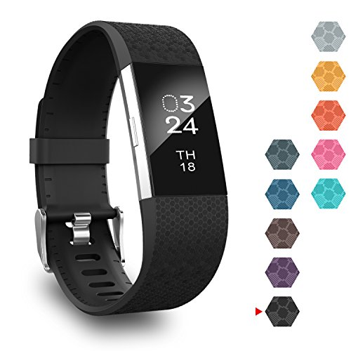 Black Diamond Laser - GreenInsync Fitbit Charge 2 Bands, Replacement Bands Fitbit Charge 2 Wristband Fitbit HR2 Bracelet Accessories Bands Small Compatible for Fitbit Charge 2 for Men Women Girls Boys-Laser(Black)