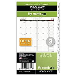 """At-a-glance Day Runner Monthly Planner Refill, January 2018 - December 2018, 3-34"""" X 6-34"""", Loose Leaf, Size 3 (063-685y)"""