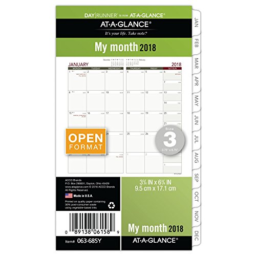 "AT-A-GLANCE Day Runner Monthly Planner Refill, January 2018 - December 2018, 3-3/4"" x 6-3/4"", Loose Leaf, Size 3 (063-685Y)"