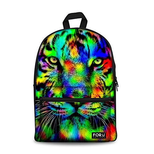 Tiger Backpack - FOR U DESIGNS Leisure Tiger Backpack Canvas Animal Backpack Bookbag for Boys