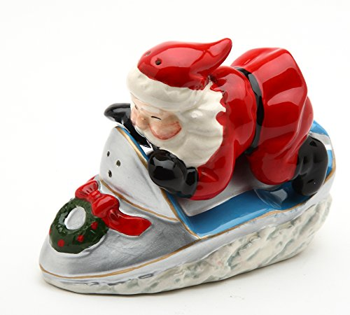 Cosmos Gifts 10586 Fine Ceramic Santa Claus Riding Snowmobile Salt and Pepper Shaker Set, 4-1/4