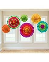 Amscan Fiesta Paper Fan Decorations (Set of 6)