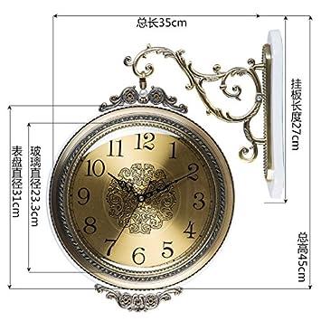 huijun Salón de doble cara Reloj de pared Reloj de cuarzo kontinentales Lujo Metal en ambos lados de la pared Diagrama, M310 Weiß: Amazon.es: Hogar