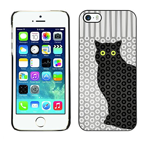 Soft Silicone Rubber Case Hard Cover Protective Accessory Compatible with Apple iPhone? 5 & 5S - cat polka dot trippy pattern eyes