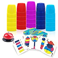 Gamie Stacking Cups Game - with 54 Challenges, 20 Stacking Cups, Bell and Instruction Sheet - Educational Color and Shape Matching Game - Classic Quick Stacks Set for Boys, Girls, Teens, Adults
