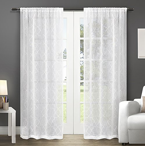 Exclusive Home Cali Embroidered Semi-Sheer Rod Pocket Window Curtain Panels (Set of 2), 50 x 84″, White