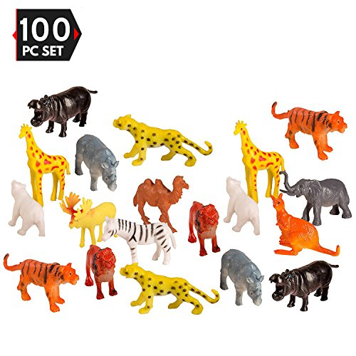 Camel Miniature - 100 Piece Party Pack Mini Wild Jungle Animals - Plastic Mini Educational Jungle Animal Toys - Fun Gift Party Giveaway