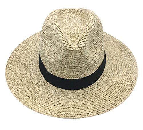 Straw Sun Hat Women Summer Fashion Fedora Wide Brim Paname Hat Packable Travel Beach Floppy Beige by E.Joy Online (Image #2)