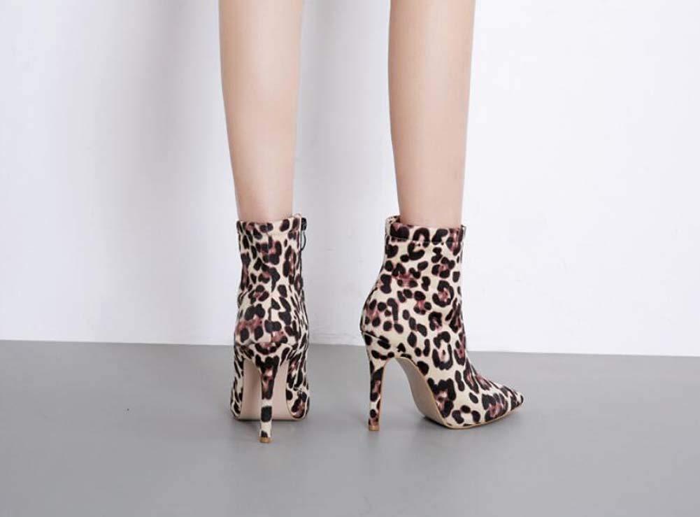 ec1a4d20e3fbc Leopard Print Ankle Bootie Women Sexy Pointed Toe 10.5cm Stiletto Martin  Boot OL Court Shoes Eu Size 34-40  Amazon.co.uk  Sports   Outdoors