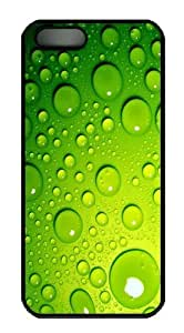 Green Water Droplets PC Case Cover for iPhone 5 and iPhone 5s Black