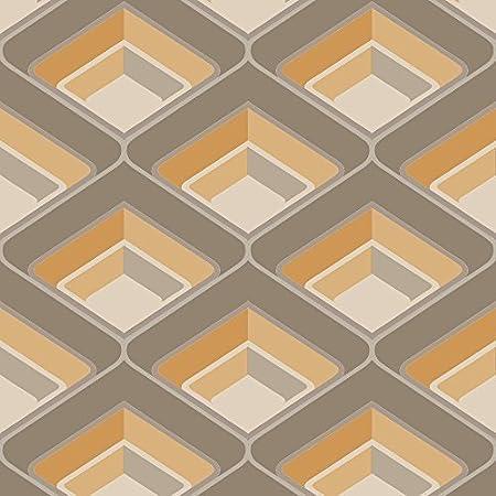 Grandeco Geometric Chevron Stripe Pattern Wallpaper Metallic Silver Glitter Motif Orange A16003