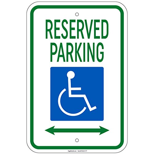 (Hvy Reserved Parking w/Handicap Symbol & Arrow Left & Right Sign 8