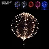 18 Inch 3 PCS Led Light Up BoBo Balloon, Warm White/ Red/ Pink colors, Fillable Transparent Balloons with Helium, Great for House Decorations, Wedding and Party Decoration- Lasts 72 hours (Warm white)