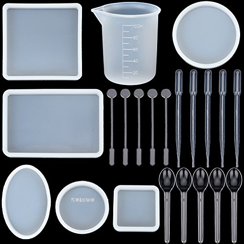 BBTO 6 Pieces Resin Jewelry Casting Mold Square Round Oval Shape Silicone Mould with Stirrers, Droppers, Spoons and Silicone Measuring Cup