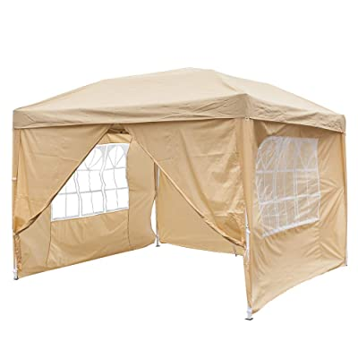 aruoquan 10'x10' Canopy Party Wedding Party BBQ Tent Folding Gazebo Beach Canopy Cater Event Outdoor with Two Doors & Two Windows Blue/Khaki (Khaki): Sports & Outdoors