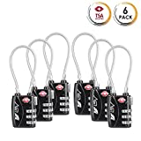 TSA Approved Luggage Travel Lock 2 Pack, Set-Your-Own Combination Lock for School Gym Locker,Luggage Suitcase Baggage Locks,Filing Cabinets,Toolbox,Case, Black 6 Pack