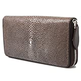 Genuine Polished Stingray Leather Brown Clutch Women Zip Around Coin Wallet Purse