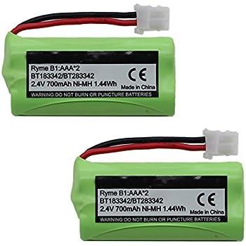 (2-Pack) BT183342 BT162342 BT166342 BT262342 BT283342 BT266342 Battery for Vtech Cordless Phone CS6114 CS6719 CS6124 CS6649 DS6151 AT&T CL4940 EL52300 Handset