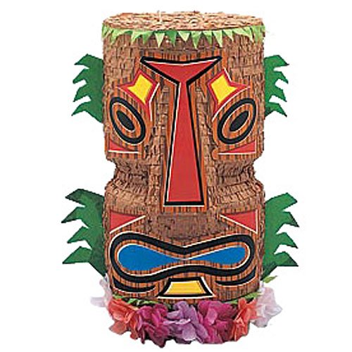 Tropical Luau Summer Tiki Pinata with Pull String Kit Party Supplies Activities