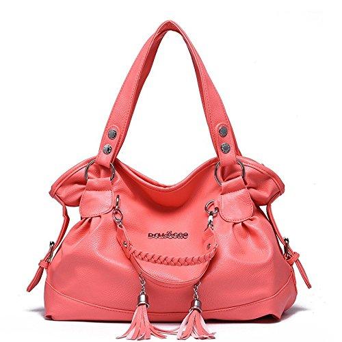 la Red de de la de grande manija cuero doble manera del de las saco bolso capacidad del simple bolso de la hombro Watermelon de manera Bolso con mujeres la fSqAHS