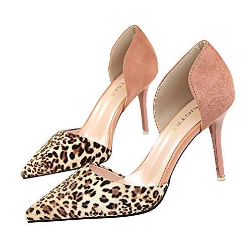 z&dw Hueco fino atractivo con los altos talones sandalias afiladas del patrón del leopardo del remiendo Rosa