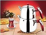 18/10 Stainless Steel Double Tea pot Samovar Turkish Tea Pot set (KUGU)