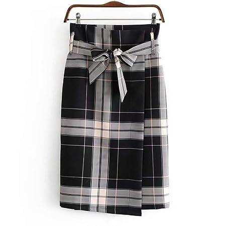QZBTU Faldas Mujer Inicio Cinturón Falda Mujer A Cuadros con Fajas ...