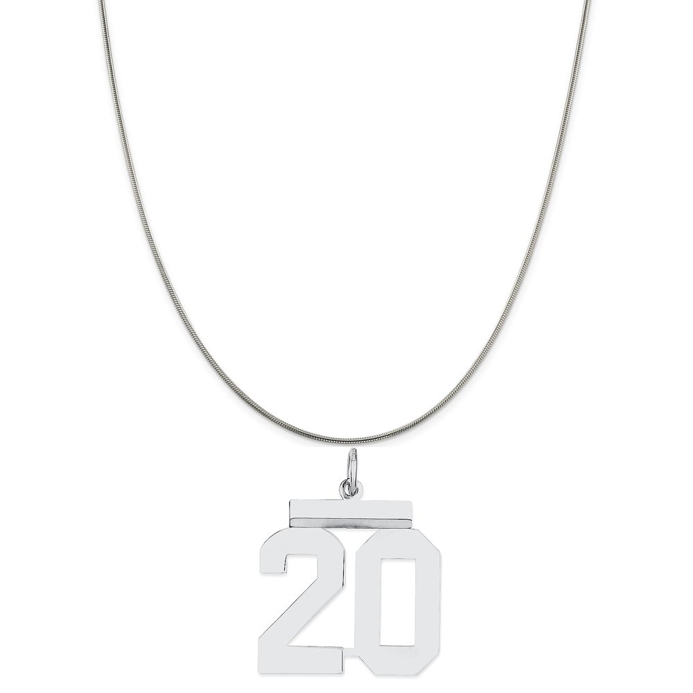 Snake or Ball Chain Necklace Sterling Silver Medium Polished Number 20 on a Sterling Silver Cable