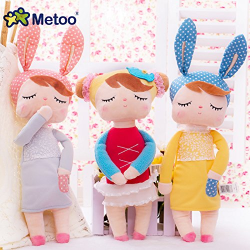 Cute Metoo Angela Rabbit Dolls Cartoon Animal Design Stuffed Babies Plush Doll for Kids Birthday / Christmas Gift Children Toy (Yellow)