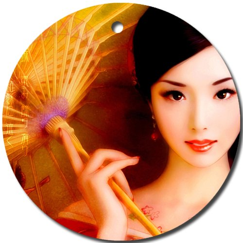 (Pretty Oriental Lady Ornament round porcelain Christmas Great Gift Idea)