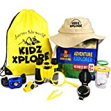 Adventure Explorer Set 10 Pcs | Outdoor Exploration Kit for Children Outdoor Games with Mini Binoculars for Kids Safari Hat Headlamp Compass Whistle Magnifying Glass Bugs Container STEM Gift Toys