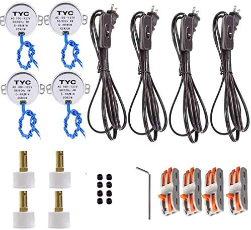 Plug,Stripped Ends Ready for Wiring Stripped Ends Ready for Wiring Lamp Cord Set with Molded Plug Lamp Cord Has Button Switch 2PACK 6 Foot White