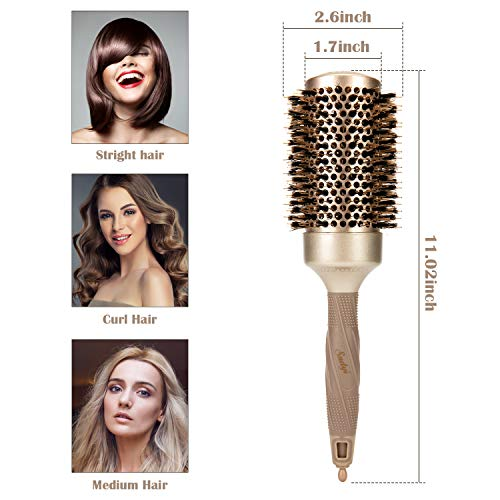 """Sndyi Professional Small Round Brush 1.3"""" for Women Blow Drying, Barrel Brush with Boar Bristle, Nano Thermal Ceramic & Ionic Hair Brush for Styling, Curling, Strengthening + 4 Sectioning Hair Clips"""
