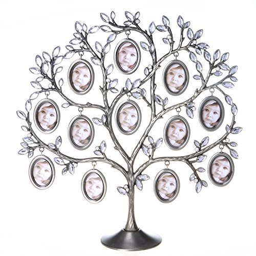 ANDY HOUSEWARE Family Photo Frame Tree Picture Frame Decorative Table Top for Holiday (Oval - Tree Metal Frame