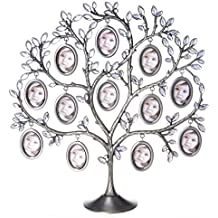 ANDY HOUSEWARE Family Photo Frame Tree Picture Frame Decorative Table Top for Holiday (Oval Shaped)