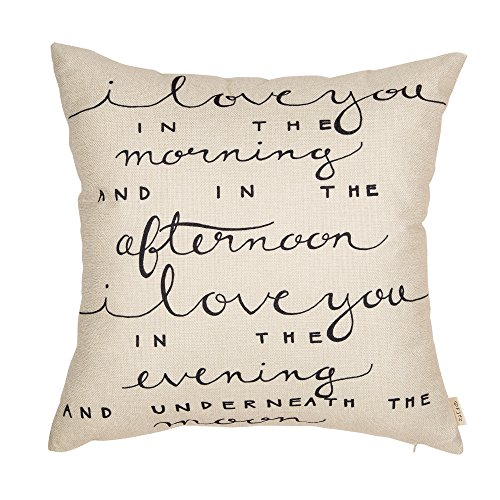 """Fjfz I Love You in The Morning and in The Afternoon Funny Quote Cotton Linen Home Decorative Throw Pillow Case Cushion Cover with Words for Sofa Couch, Black, 18"""" x 18"""""""