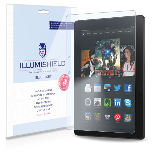 "Photo - iLLumiShield - Amazon Kindle Fire HDX 8.9 Wi-Fi LTE (HD) Blue Light UV Filter Screen Protector Premium High Definition Clear Film / Reduces Eye Fatigue and Eye Strain - Anti- Fingerprint / Anti-Bubble / Anti-Bacterial Shield - Comes With Free LifeTime Replacement Warranty - [1-Pack] Retail Packaging (Works with Kindle Fire HDX 8.9"" 2014)"